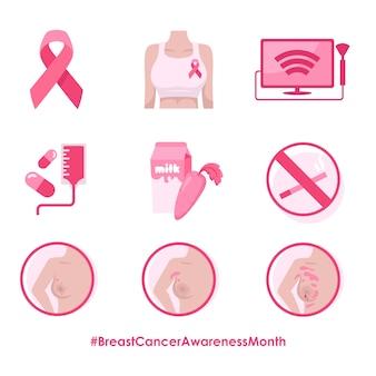 Набор иллюстраций месяца осведомленности рака молочной железы