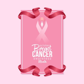 Breast cancer awareness month in october with realistic pink ribbon