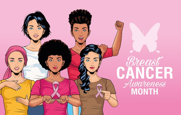 Breast cancer awareness month lettering with group of girls and butterfly vector illustration design