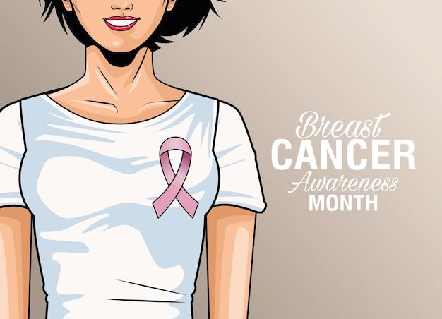Месяц осведомленности рака молочной железы надписи с розовой лентой векторные иллюстрации дизайн
