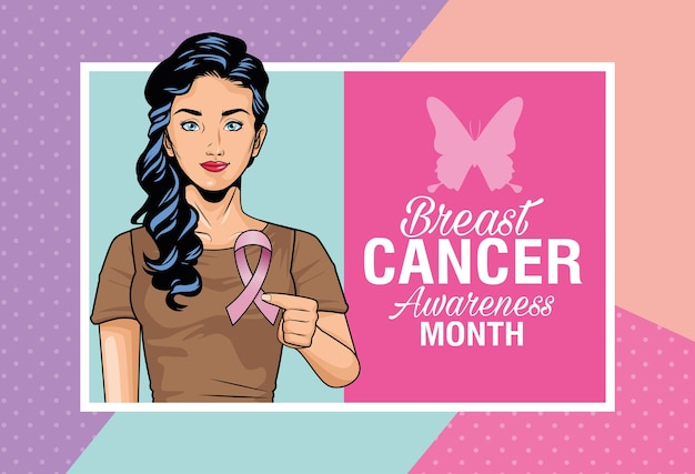 Breast cancer awareness month lettering with woman lifting pink ribbon and butterfly vector illustration design