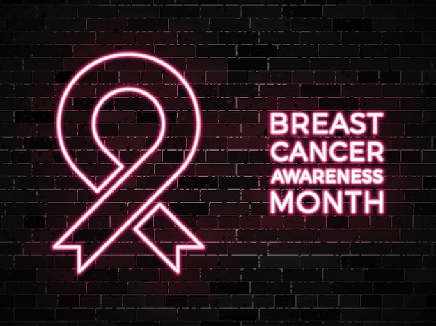 Breast cancer awareness month neon signs on dark brick wall