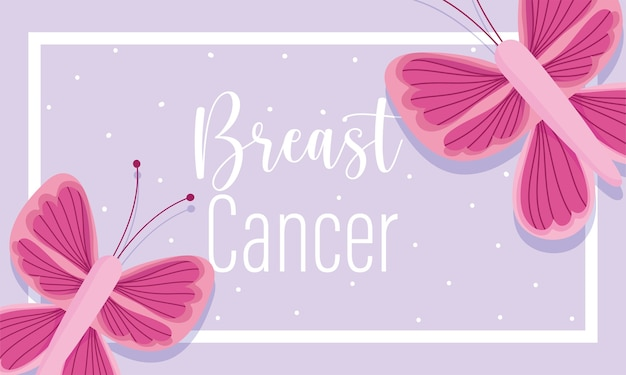 Breast cancer awareness month pink butterflies dots background purple banner