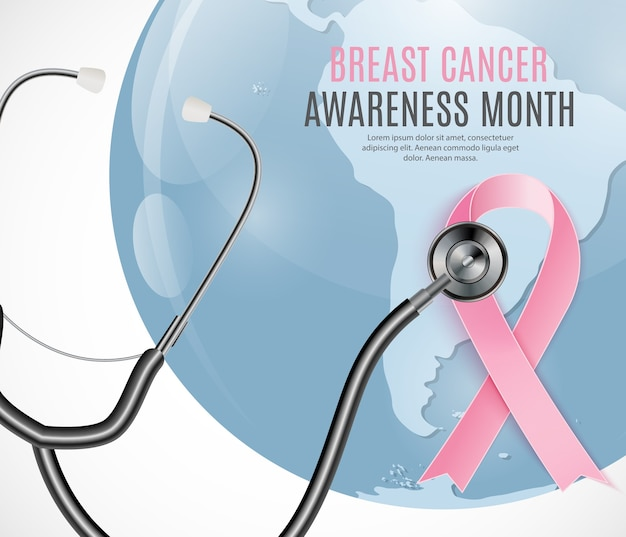 Breast cancer awareness month pink ribbon background