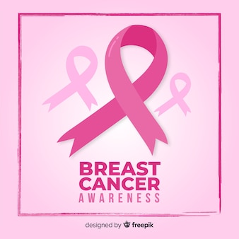 Breast cancer awareness month pink ribbon and background