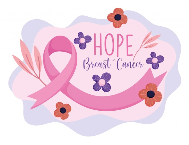 Breast cancer awareness month pink ribbon flowers branches vector design and illustration