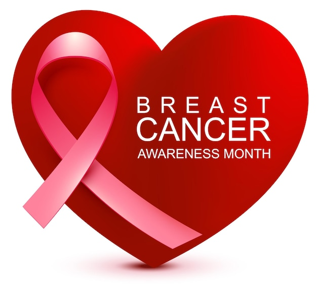 Месяц осведомленности рака молочной железы розовая лента на фоне символ формы сердца надежда