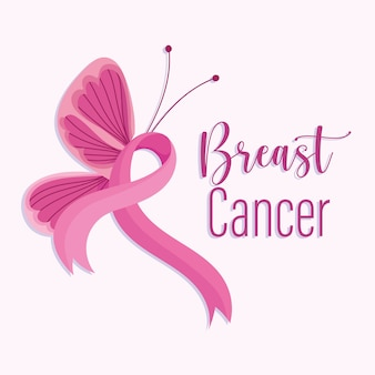 Breast cancer awareness month pink ribbon side butterfly Premium Vector