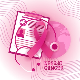 Breast cancer awareness month pink ribbon symbol