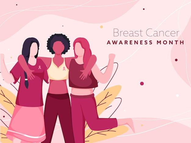 Breast cancer awareness month poster  with cartoon fighter young women and leaves on pink background.