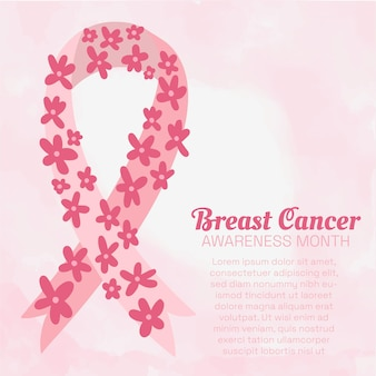 Breast cancer awareness month poster with delicate pink watercolor background, pink ribbon decorated with hand drawn bright flowers. copy space.