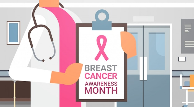 Breast cancer awareness month poster with female doctor in hospital disease prevention banner