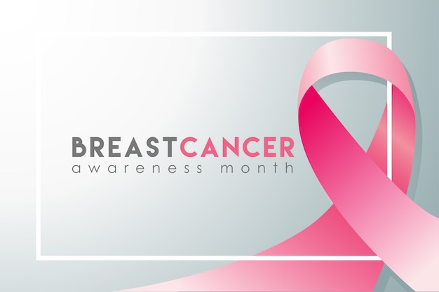 Breast cancer awareness month realistic banner