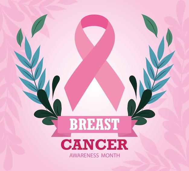 Breast cancer awareness month ribbon pink floral design vector and illustration design