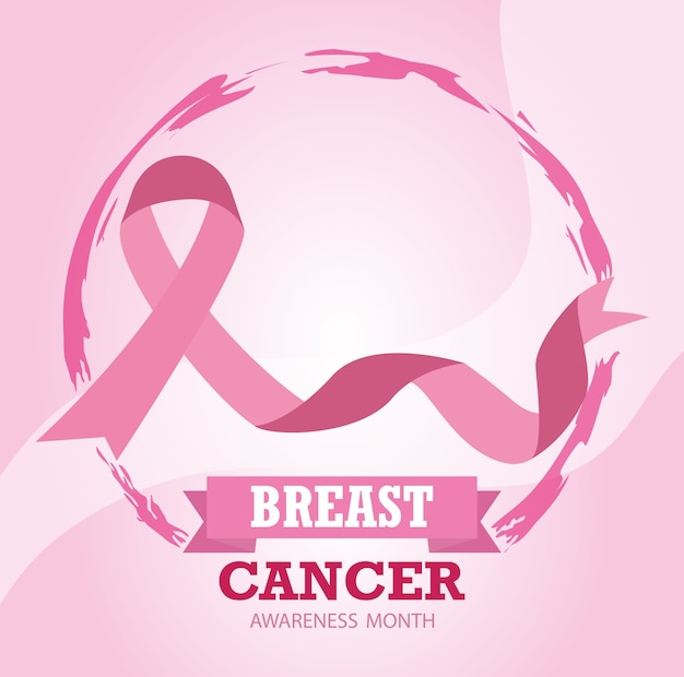 Breast cancer awareness month ribbon pink healthy campaign vector and illustration design