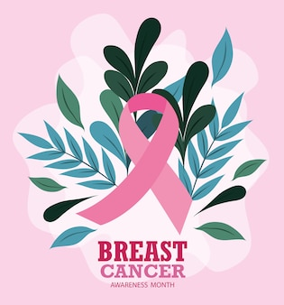 Breast cancer awareness month ribbon pink leaves foliage vector and illustration design