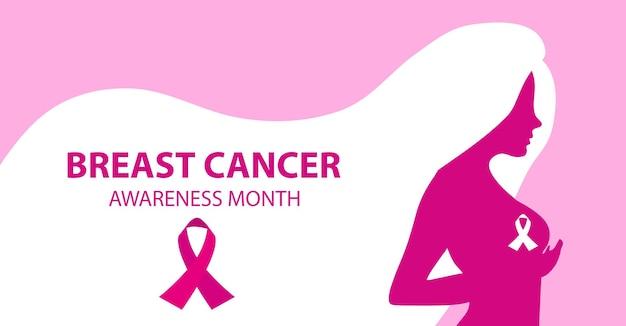 Месяц осведомленности о раке груди. женщина силуэта проверяет ее шаблон груди для вашего плаката дизайна, баннера. векторная иллюстрация