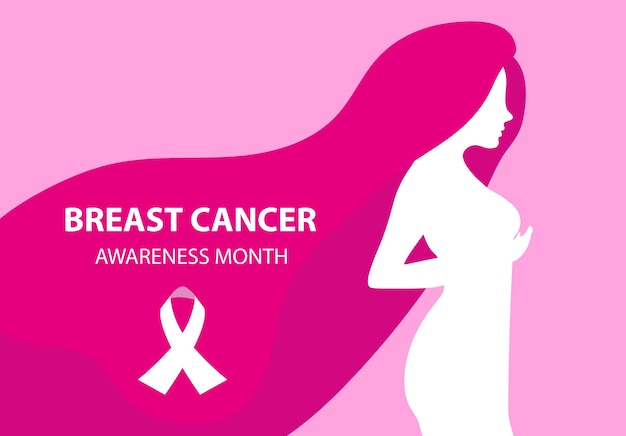 Breast cancer awareness month. silhouette woman checks her breasts template for your design poster, banner. vector illustration.