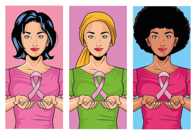 Breast cancer awareness month with group of interracial girls lifting pink ribbon vector illustration design
