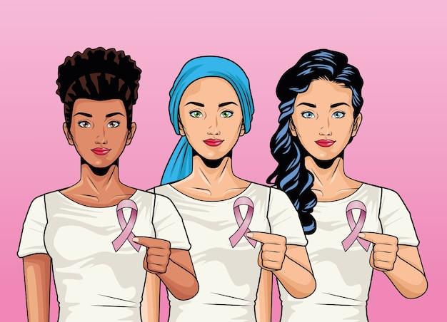 Месяц осведомленности о раке груди с группой межрасовых девушек, поднимающих розовую ленточку