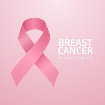 Breast cancer awareness month with realistic pink ribbon illustration
