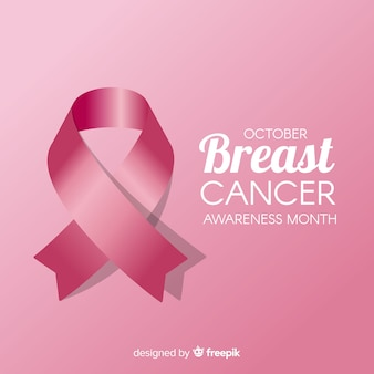 Breast cancer awareness month with realistic ribbon