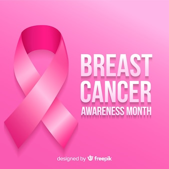 Breast cancer awareness month with ribbon