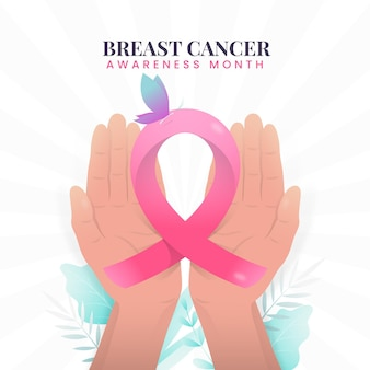 Месяц осведомленности о раке груди с лентой