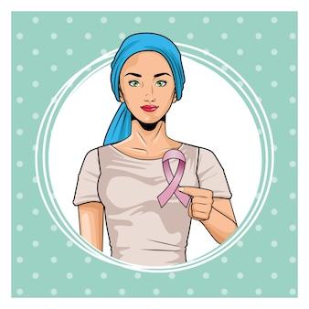 Месяц осведомленности о раке груди с женщиной, поднимающей розовую ленту, векторную иллюстрацию дизайна