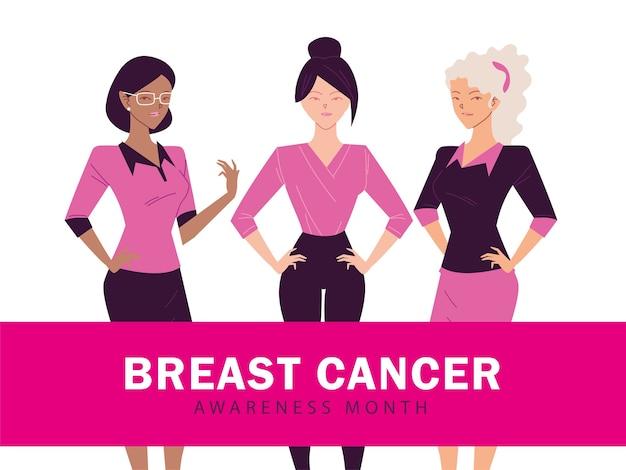 Месяц осведомленности о раке груди с женским дизайном