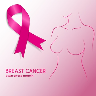 Breast cancer  awareness month. woman silhouette with breast cancer awareness ribbon