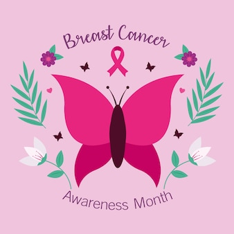Breast cancer awareness pink butterfly design, campaign theme.
