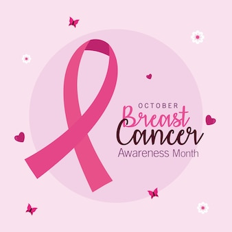 Breast cancer awareness pink ribbon design, campaign theme.