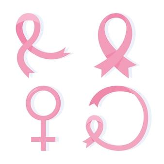 유방암 인식 핑크 리본 다른 모양 벡터 디자인 및 일러스트