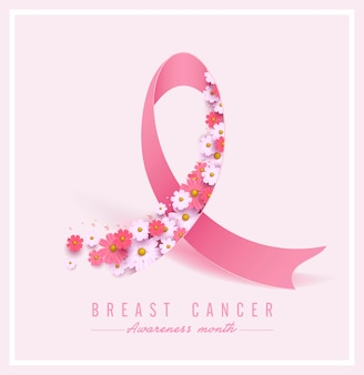 Breast cancer awareness pink ribbon and flower background