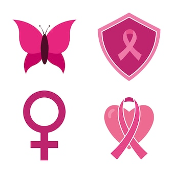 Breast cancer awareness pink ribbon gender heart and butterfly design, campaign theme.