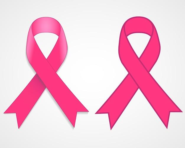 Розовая лента осведомленности рака молочной железы, изолированные на белом фоне