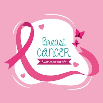 Breast cancer awareness pink ribbon with butterfly design, campaign theme.