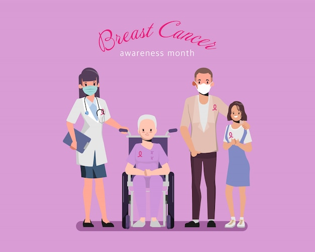 가족 및 의사 캐릭터와 유방암 인식 핑크 리본.
