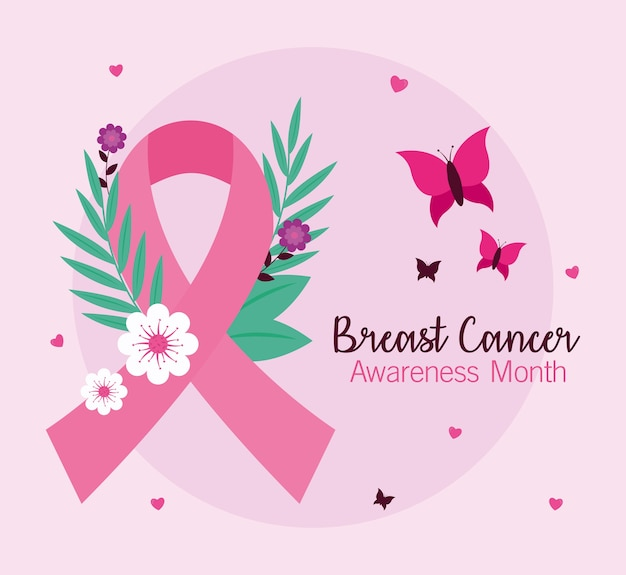 Breast cancer awareness pink ribbon with flowers and butterflies design, campaign theme.
