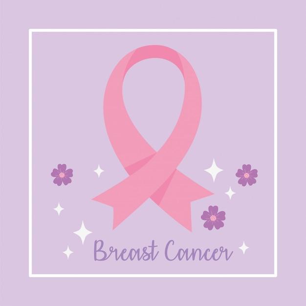 비문 및 꽃 벡터 디자인 및 일러스트와 함께 유방암 인식 핑크 리본