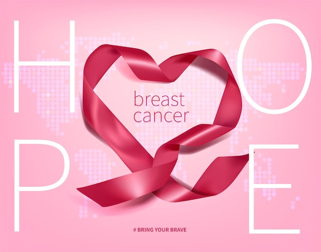Breast cancer awareness poster with a realistic pink bow ribbon