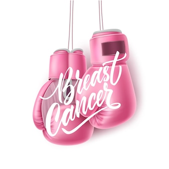 Breast cancer awareness realistic pink boxing gloves women health care support symbol