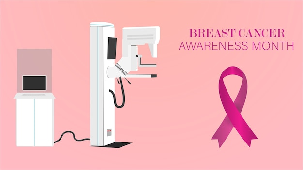 Breast cancer awareness ribbon background with mammography machine .