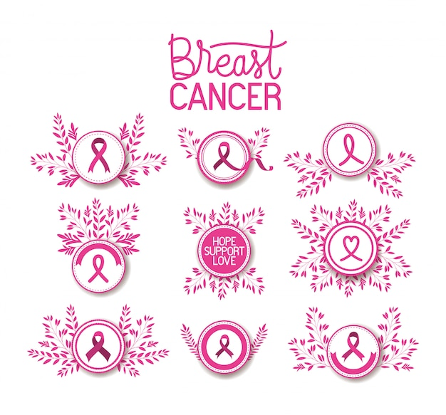 Breast cancer awareness ribbon campaign set icons
