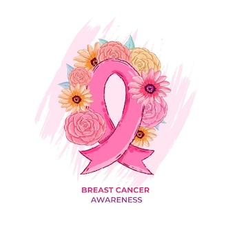 Nastro di consapevolezza del cancro al seno con fiori