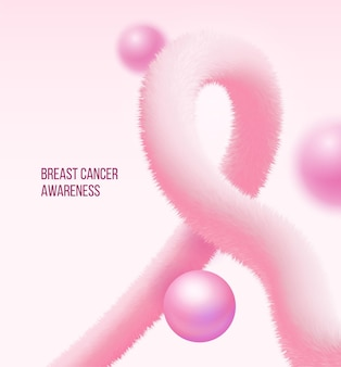 Breast cancer awareness symbol made in form of realistic pink fluffy tinsel and pearl