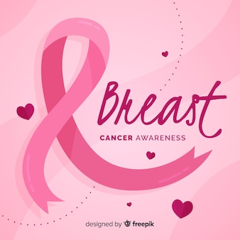 Breast cancer awareness with pink ribbon flat design Premium Vector