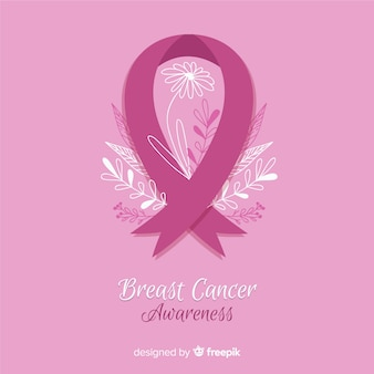 Breast cancer awareness with pink ribbon flat style
