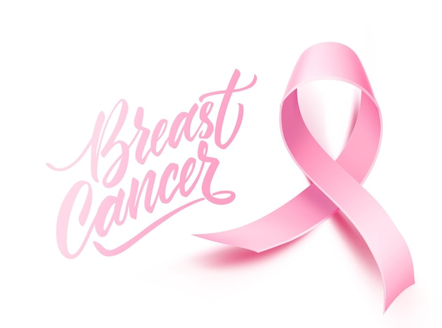 Breast cancer awareness with realistic pink ribbon women health care support symbol